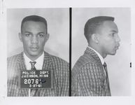 Mississippi State Sovereignty Commission photograph of Meredith Coleman Anding, Jr. following his arrest for his participation in a sit-in at a library in Jackson, Mississippi, 1961 March 27