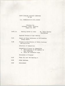 Agenda, South Carolina Advisory Committee to the U.S. Commission on Civil Rights, August 25, 1976