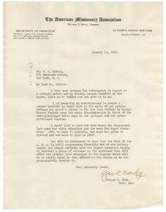 Letter from The American Missionary Association to W. E. B. Du Bois