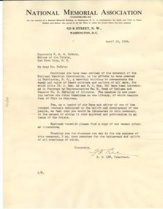 Letter from National Memorial Association to W. E. B. Du Bois