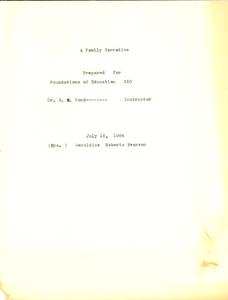 Student family histories: Pearson, Geraldine Roberts (Flint, Goolsby, Gordon)