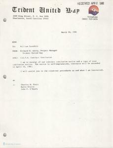 Trident United Way Memorandum, March 30, 1981