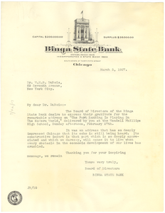Letter from Binga State Bank to W. E. B. Du Bois