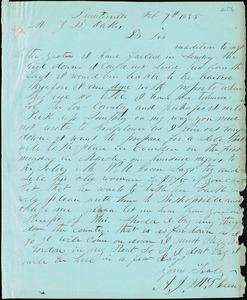 A. J. McElveen, Sumterville, S.C., autograph letter signed to Ziba B. Oakes, 7 February 1855