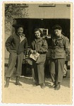 """[""""Sweethearts,"""" (left to right) Ray Carter, Rosalind """"Roz"""" Cron, Mim. Black-and-white photoprint.]"""