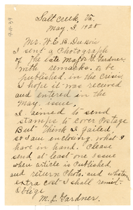Letter from Mary L. Gardner to W. E. B. Du Bois
