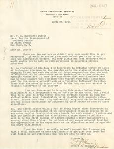Letter from Daniel J. Fleming to W. E. B. Du Bois