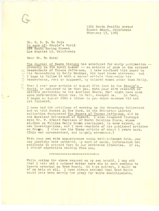 Letter from Pearl M. Graham to W. E. B. Du Bois