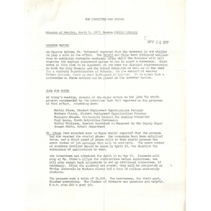 Committee for Boston minutes of meeting, April 5, 1977, Boston Public Library.