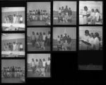Set of negatives by Clinton Wright including a wedding reception, Rosee and Lee Sykes, Earl Cage Salon, Westside School, and teacher's party at Highland School, 1967