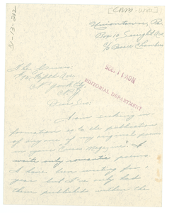 Letter from Dora White to Crisis