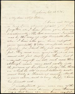 Letter from Increase S. Smith, Hingham, [Mass.], to Caroline Weston, Oct. 31, 1835