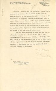 Letter from B. R. Ambedkar to W. E. B. Du Bois