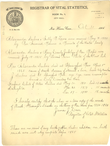Letter from Registrar of Vital Statistics, New Haven Connecticut to W. E. B. Du Bois