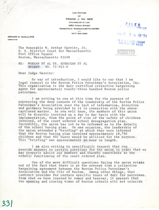 Letter from Frank J. McGee, Jr., Attorney for Boston Police Patrolmen's Association, Inc., to Judge W. Arthur Garrity, Jr.