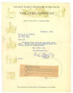 Letter from Carl Murphy to W. E. B. Du Bois
