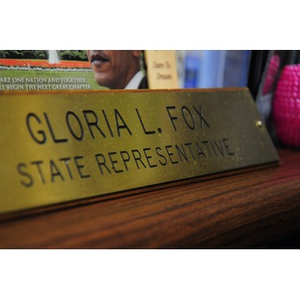 """Gloria Fox, desk"""