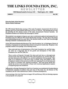 The Links Foundation, Inc. Newsletter, Number 2, May 1992
