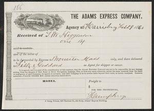 Humphreys autograph document signed for Thomas Wentworth Higginson, Harrisburg, [PA], 29 February 1860
