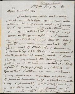 Letter from Joshua Leavitt, New York, to Amos Augustus Phelps, July 20 '40