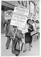 People picket against the Woolworth Company's practice of segregation, April 20, 1963