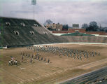 Marching band for Booker T. Washington High School on the field at Cramton Bowl in Montgomery, Alabama.