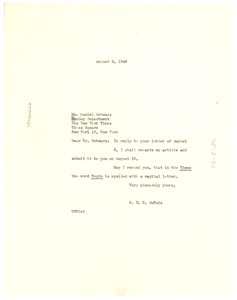Letter from W. E. B. Du Bois to New York Times