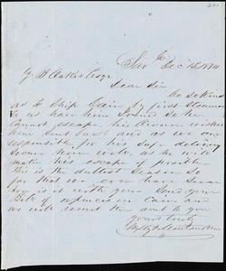 Wylly & Montmollin, Savannah, Ga., autograph letter signed to Ziba B. Oakes, 13 December 1854