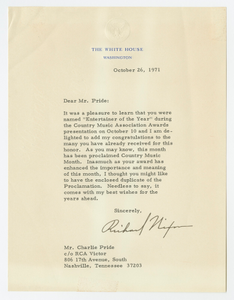 Letter to Charley Pride from Richard Nixon