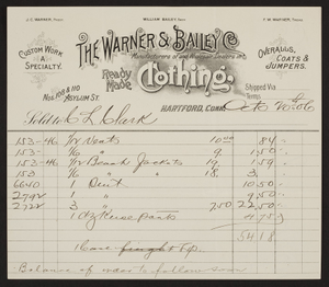 Billhead for The Warner & Bailey Co., ready made clothing, Nos. 108 & 110 Asylum Street, Hartford, Connecticut., dated October 20, 1906
