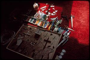 Outsider art: Theodore Hill. Theodore Hill's art materials