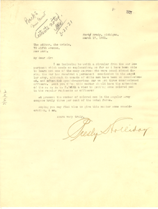 Letter from Presly Holliday to the editor of The Crisis