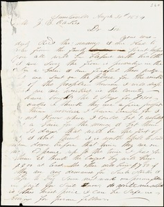 James Adger, Sullivan's Island, S.C., autograph letter signed to Ziba B. Oakes, 26 August 1854