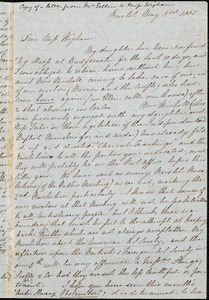 Letter from John Bishop Estlin, Bristol, [England], to Eliza Wigham, 1851 May 3