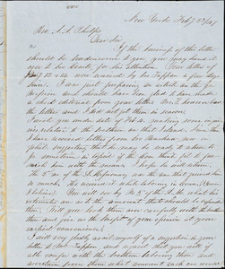 Letter from George Whipple, New York, to Amos Augustus Phelps, 1847 Feb[ruary] 23