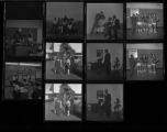 Set of negatives by Clinton Wright including hoola hoops winners, Halloween party at Doolittle, Elder and Sis Hall, Winfrey's class at Matt Kelley, basketball tournament winners, Thomas' open house party, and Mingard football team, 1968