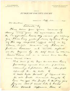 Letter from J. O. Andrews to W. E. B. Du Bois