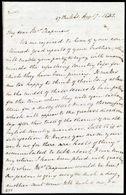 Letter to] My dear Mrs. Chapman [manuscript
