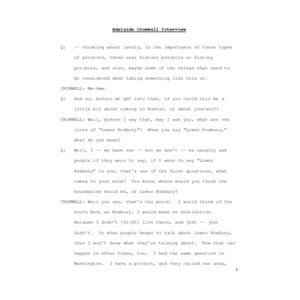 Interview with Adelaide M. Cromwell, April 1, 2009 [transcript]