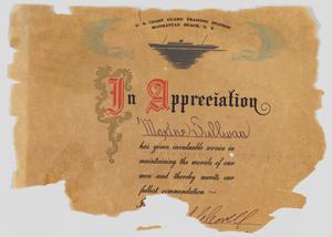 Certificate of Appreciation from US Coast Guard to Maxine Sullivan