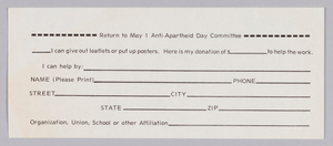 Donation slip of the Anti- Apartheid Day Committee