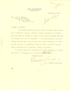 Letter from U. S. War Department to W. E. B. Du Bois