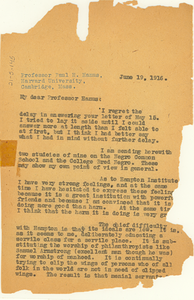 Letter from W. E. B. Du Bois to Paul H. Hanus
