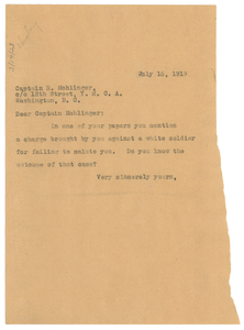 Letter from W. E. B. Du Bois to R. Mehlinger