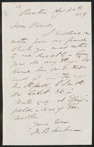 F. B. Sanborn autograph letter signed to [Thomas Wentworth Higginson], Boston, 24 August 1859