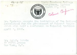 Letter from Akiki Nyabongo to W. E. B. Du Bois