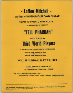Flyer for Tell Pharaoh, May 28, 1978 Tell Pharaoh - Third World Players