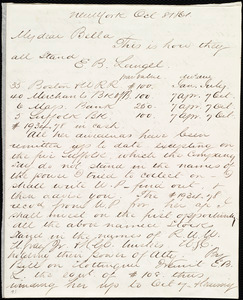 Letter from Henry Grafton Chapman, New York, to Deborah Weston, Oct. 8, 1861