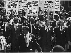 Civil Rights March on Washington, D.C. [Leaders marching from the Washington Monument to the Lincoln Memorial], 08/28/1963