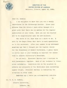 Letter from Lester A. Walton to W. E. B. Du Bois